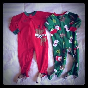 Christmas winter footed pajamas 12 months